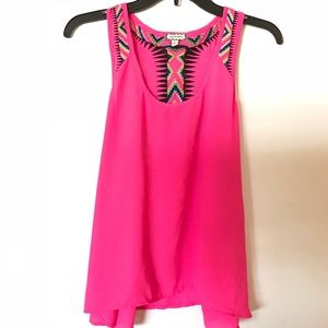 NWT Hot pink rainbow tank  beautiful woven straps
